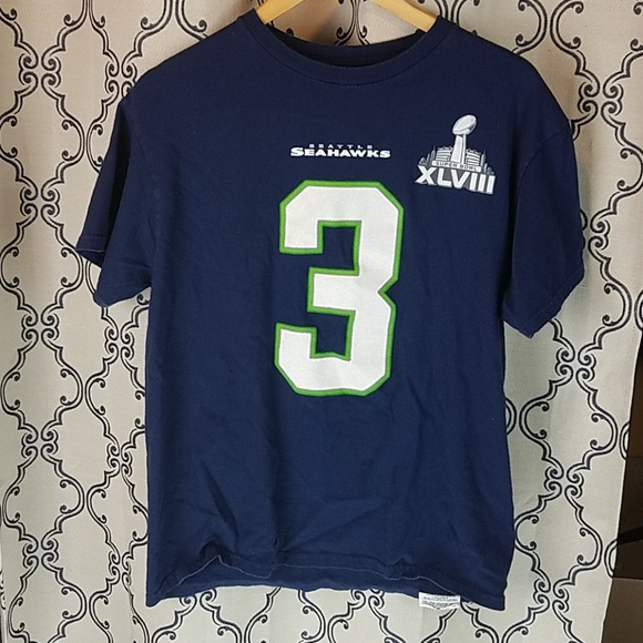 new styles 83cce c9914 Russell Wilson Jersey tee superbowl 48